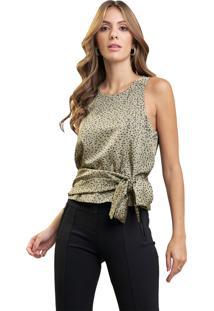 Blusa Mx Fashion Estampada Com Amarração Francielle Verde - Kanui