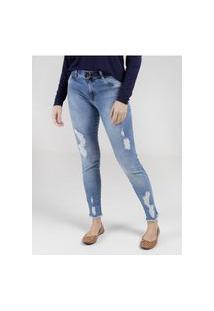 Calça Jeans Cigarrete Mokkai Feminina Azul