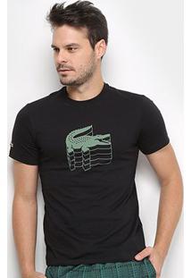 Camiseta Lacoste Logo Dimensional Masculina - Masculino-Preto