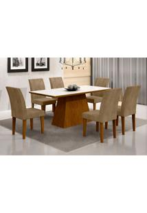 Conjunto De Mesa De Jantar Luna Ii Com Vidro E 6 Cadeiras Grécia Animalle Imbuia E Chocolate