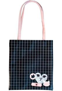 Bolsa Tote Bag Cat Gatinha | Cor: Preto/Rosa