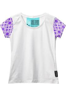 Camiseta Baby Look Feminina Algodão Estampa Manga Curta Leve - Feminino-Branco+Roxo