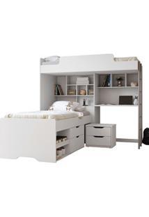 Cama Solteiro Módulo Office New Com Cama 2 Gavetas E Mesa De Cabeceira