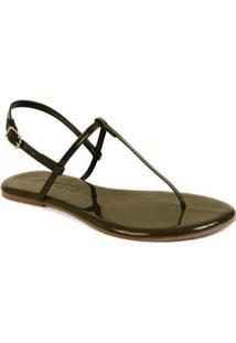 Sandália Mercedita Shoes Flat Básica Verniz Feminina - Feminino-Verde
