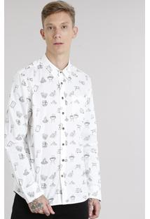 Camisa Masculina Estampada Com Bolso Manga Longa Off White
