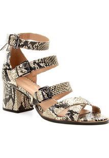 Sandália Shoestock Salto Bloco Snake Feminina - Feminino-Bege