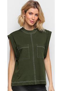 Camiseta Colcci Bolsos Manga Curta Feminina - Feminino-Verde