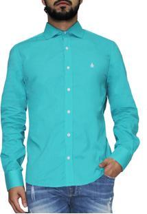 Camisa Manga Longa R.Mendes Classic Azul Cancum