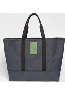 Bolsa Jeans Com Recortes & Tag - Azul Escuro & Verdecalvin Klein