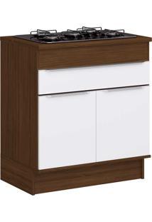 Armário De Cozinha 2 Portas Para Cooktop Com Rodapés Cs601R Cacau/Branco - Decibal Móveis
