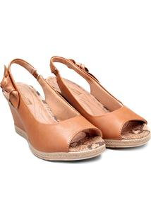 Sandália Comfortflex Chanela Anabela Alta Feminina - Feminino-Caramelo