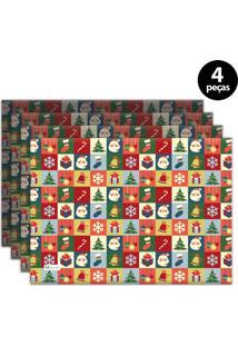 Jogo Americano Mdecore Natal Papai Noel 40X28 Cm Vermelho 4Pçs