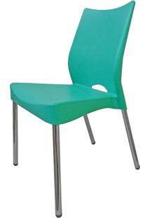 Cadeira Malba Base Fixa Pintada Cinza Cor Verde Agua -17538 - Sun House