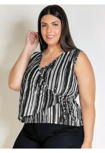 Blusa Listrada Preta Transpassada Plus Size