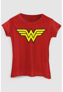 Camiseta Dc Comics Wonder Woman Bandup! - Feminino-Vermelho