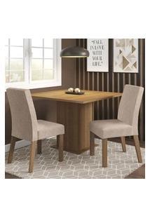 Conjunto Sala De Jantar Madesa Tai Mesa Tampo De Madeira Com 2 Cadeiras - Rustic/Imperial Marrom