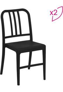 Jogo De Cadeiras Navy- Preto- 2Pã§S- Or Designor Design