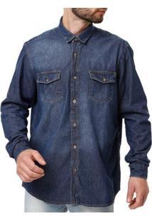 Camisa Manga Longa Jeans Masculina Azul