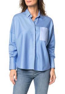 Camisa Ampla Calvin Klein Azul Claro - 38