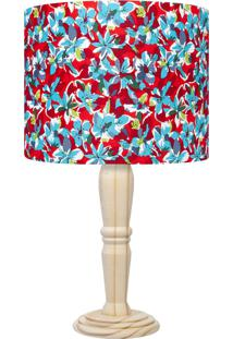 Abajur Carambola Floral Naomi Vermelho