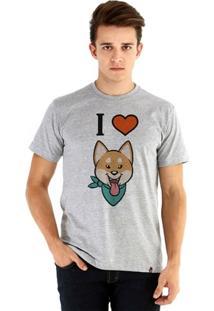 Camiseta Ouroboros Manga Curta I Love Shiba Inu - Masculino