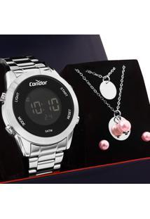 Kit Relógio Condor Feminino Com Colar E Brincos Cobj3279Ab/K3P