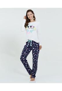 Pijama Feminino Manga Longa Minnie Mickey Disney