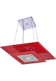 Pendente Palladium Quadrado Vermelho 1 Lâmpada