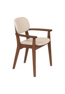 Cadeira Com Braço Tramontina 14061131 London Amêndoa Estofado Bege