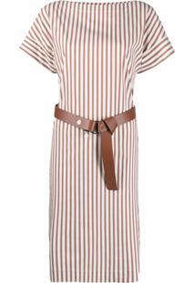 Peserico Vestido Com Cinto E Listras - Marrom
