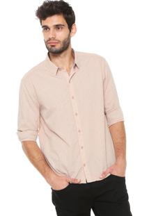 Camisa Hering Reta Padronagem Rosa