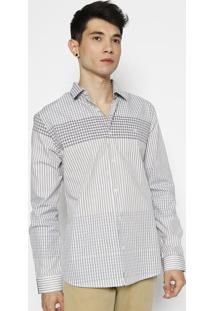Camisa Super Slim Fit Xadrez Com Botãµes- Bege & Azul Marforum