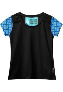 Camiseta Baby Look Feminina Algodão Estampa Manga Curta Leve - Feminino-Azul+Preto