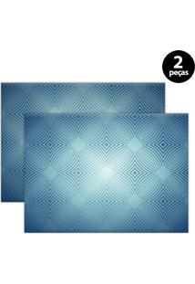Jogo Americano Mdecore Abstrato 40X28Cm Azul 2Pçs