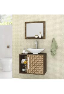 Gabinete Para Banheiro Com Cuba E Espelheira Baden Móveis Bechara Madeira Rústica/3D