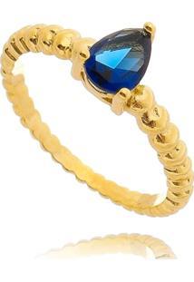 Anel Lua Mia Joias Solitário Azul Safira De Bolinhas Com Gota Banho Ouro