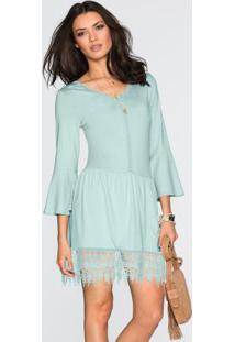 Vestido Com Renda Guipir Azul