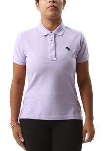 Polo Abercrombie & Fitch Bordado Lilás Incolor