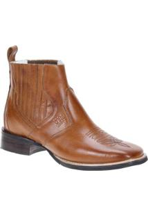 Bota Couro Western Via Boots Cano Curto Masculina - Masculino-Marrom Claro