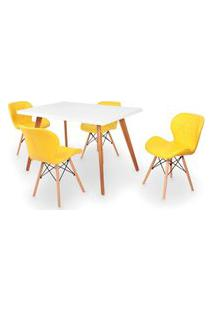 Conjunto Mesa De Jantar Gih 120X80Cm Branca Com 4 Cadeiras Slim - Amarelo