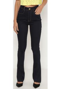 Jeans Boot Cut Super High- Azul Escuro- Lança Perfumlança Perfume