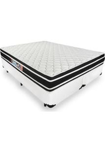 Cama Box King + Colchão De Espuma D33 - Castor - Black White Double Face 193X203X62Cm Branco