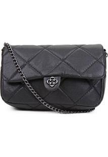 Bolsa Couro Capodarte Mini Bag Matelassê Alça Corrente Feminina - Feminino-Preto
