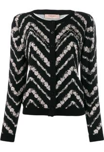 Twin-Set Cardigan Com Padronagem Chevron - Preto