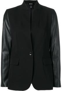 Dkny Faux Leather Sleeve Blazer - Preto