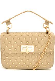 ... Bolsa Lady Like Santa Lolla Tachas Off-White Dourada 1c01e10fe3a