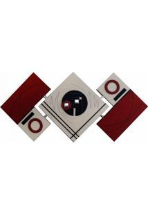 Quadro Artesanal Abstrato Losango 65X125Cm Vermelho Uniart