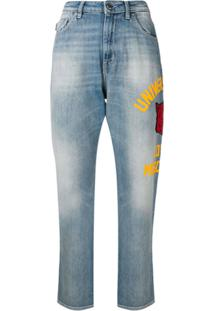 Love Moschino Side Print Boyfriend Jeans - Azul