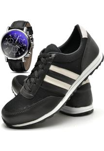 Sapatênis Sapato Casual Com Relógio Juilli Com Cadarço Masculino 01L Preto