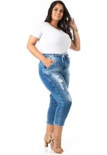 Calça Jeans Capri Jogger Plus Size Confidencial Extra Feminina - Feminino-Azul